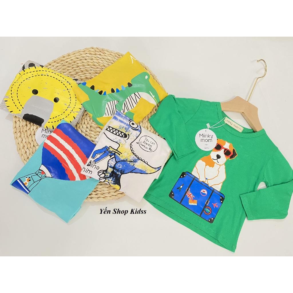 Áo Phông Dài Tay Minky Mom Chất Thun Lạnh Cực Đẹp Cho Bé_Họa Tiết (K/long Trắng-Chó) (SP001196 )
