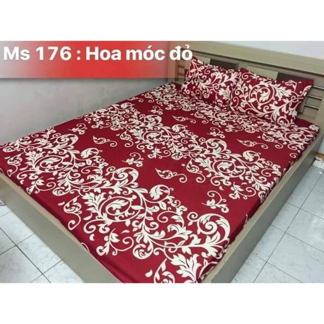 [122 KG] Bộ ga xoa nhung hoa móc đỏ trắng chất đẹp giá khuyến mãi bán buôn giá tốt
