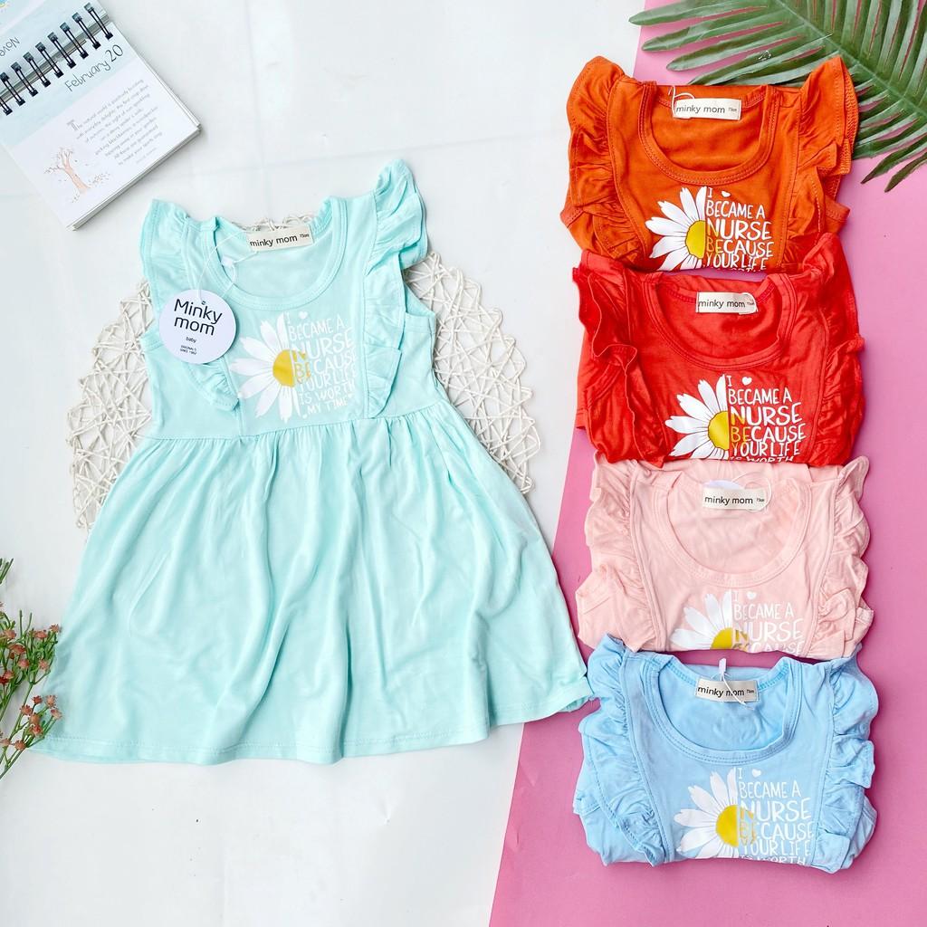 Váy đầm tay nhí thun cotton lạnh Minky Mom cho Bé Gái 7-16kg (hình thật)