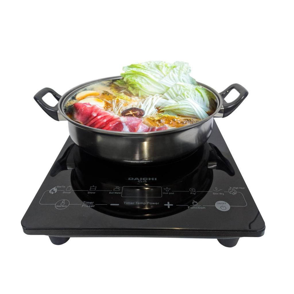 Cooker Rice Daichi  [PCM] เตาแม่เหล็กไฟฟ้า IN-005 พร้อมหม้อสแตนเลสและฝาแก้ว ปุ่มสัมผัสooker Rice Daichi  [PCM] เตาแม่เหล