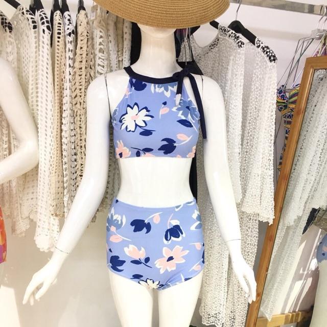 Bikini 2 mảnh: set hoa vintage áo yếm, quần lưng cao