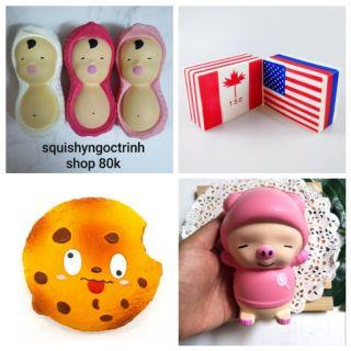 Squishy bánh qui+lá cờ+ đậu và Heo baby thumbnail