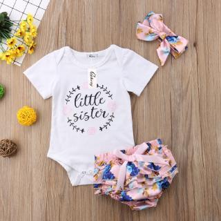 ❀DEM☞Newborn Kids Baby Girls Outfit Floral Clothes Romper Jumpsuit Bodysuit+Pants Set