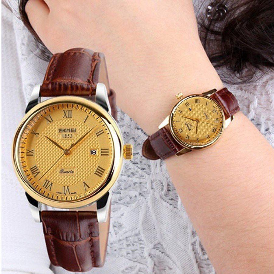 Đồng hồ nữ SKMEI dây da nâu mặt màu vàng ( Có size nam)