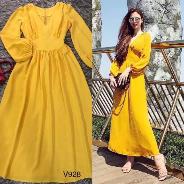 Váy maxi vàng tay dài màu vàng sang trọng