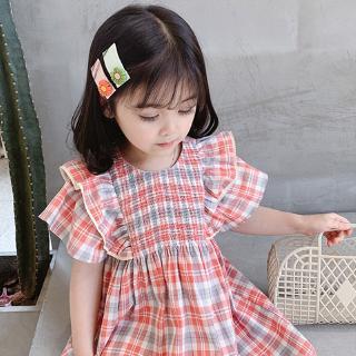 Đầm Kẻ Sọc Caro Phối Ren Phong Cách Hàn Quốc Thời Trang Mùa Hè Cho Bé Gái