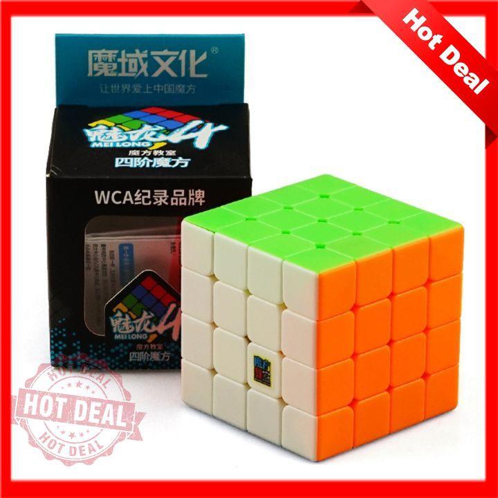 Rubik 4x4x4 không viền SIÊU TRƠN MoYu MeiLong Stickerless Đồ chơi phát triển Trí Tuệ