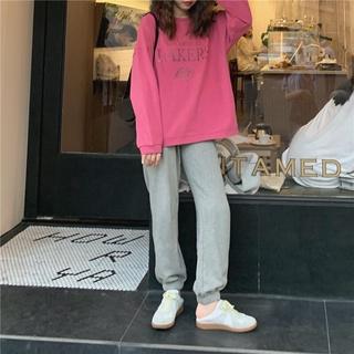 Nữ net nổi tiếng đầu thu thời trang giản dị suit new ins phong cách Hàn Quốc Áo cánh rộng + quần âu xám