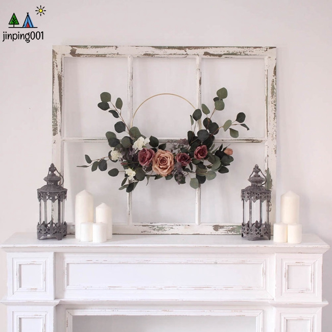 25.6in Artificial Rose Garland Flower Wreath Ornament Door Wall Wedding Party Home Decoration