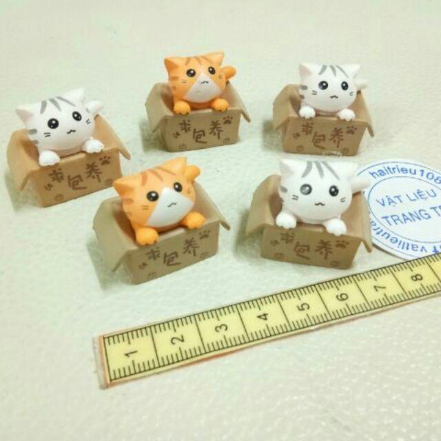 Mèo trong hộp giấy phụ kiện trang trí charm sliem