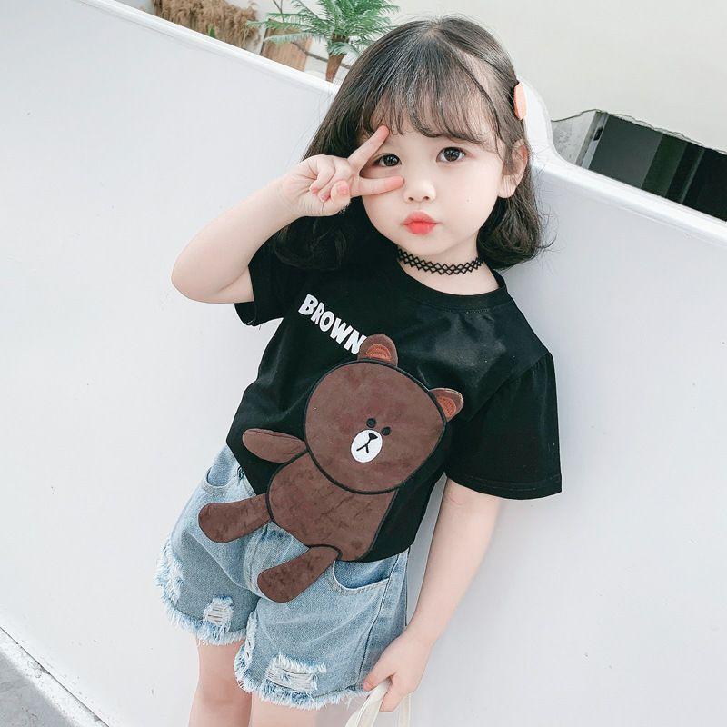 Áo Cộc Tay Cho Bé 8-18kg  Áo Thun Bé Trai Bé Gái Hình Gấu Đáng Yêu Quần Áo Trẻ Em Hè 2021-3