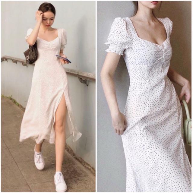 Đầm bi nhí trắng dài xẻ tà