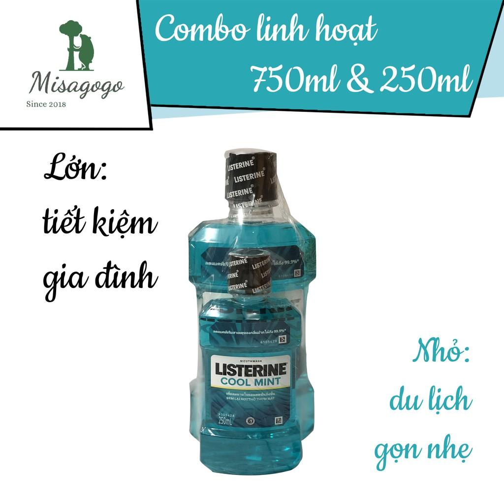 Combo 1 cặp Nước súc miệng Listerine 750ml + 250ml