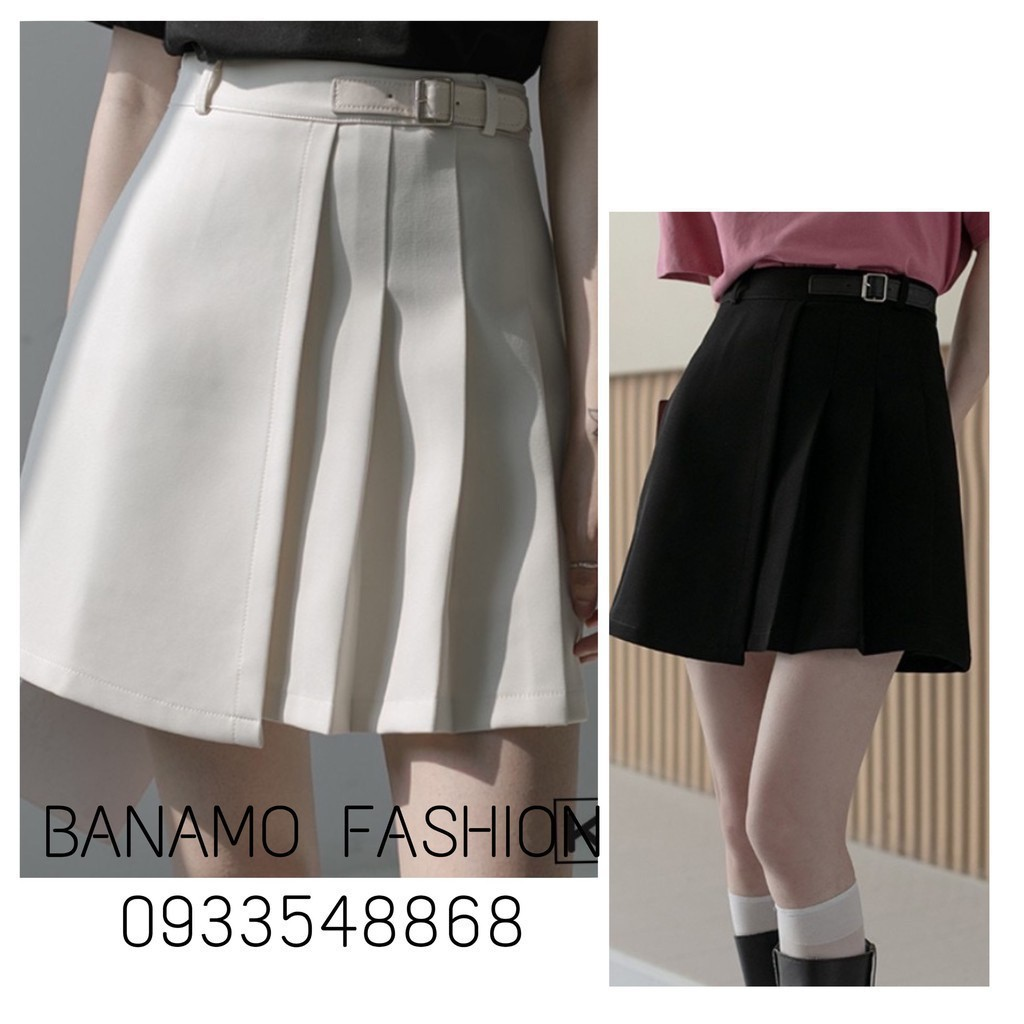 Chân váy xếp ly phối đai lệch chân váy ngắn dáng chữ A chất tuyết mưa thời trang công sở Banamo Fashion 5318