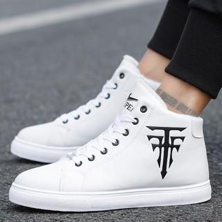 Giày cổ cao da nam - Trắng in thánh giá có 2 màu đen và trắng thumbnail