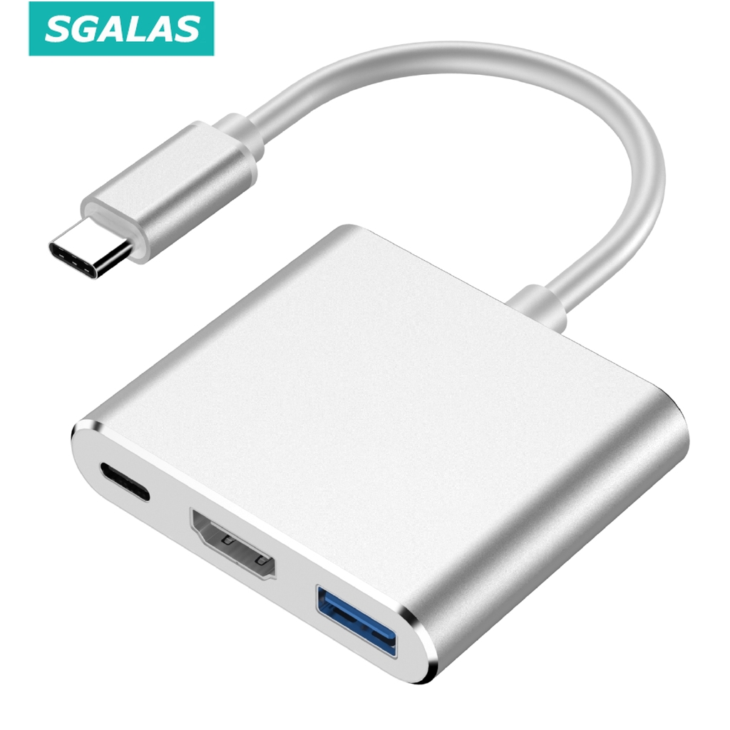 Bộ Chuyển Đổi SGALAS 3 Trong 1 từ USB Type C 3.1 Sang USB-C 4K HDMI USB 3.0 Cho Apple Macbook