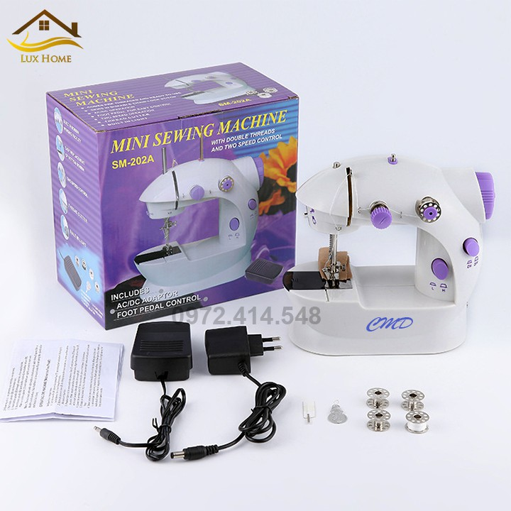 [FreeShip] Máy May Mini Gia Đình Cầm Tay - Máy Khâu Mini - Kèm 4 Suốt Chỉ + Mũi Kim Sơ Cua - Máy khâu dùng điện dùng pin