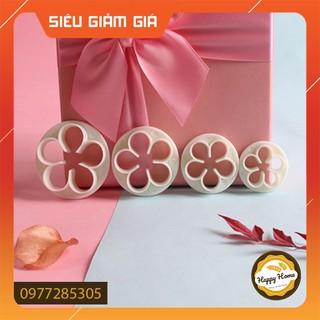 Khuôn nhấn fondant 4 hoa hồng tạo hình trang trí bánh hiện đại – Dụng cụ làm bánh