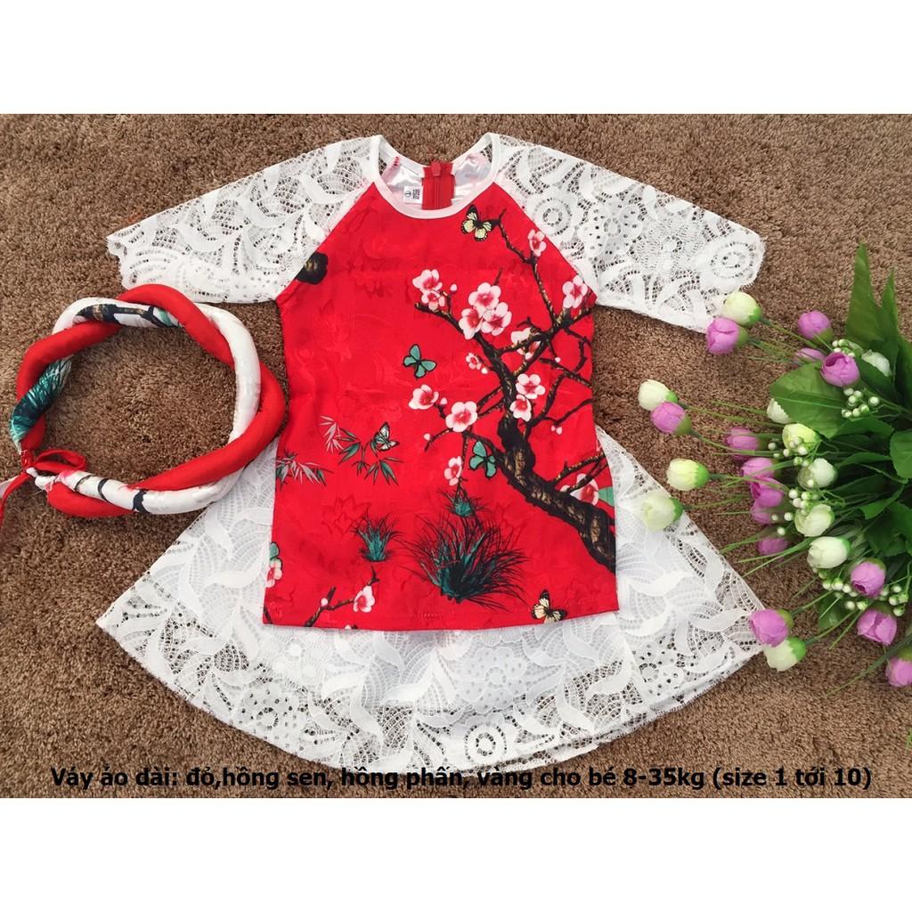 Free Ship Set Váy áo dài cách tân gồm:áo + váy+mấn vải ren,gấm cho bé gái (8-30kg)(inbox chọn mầu)