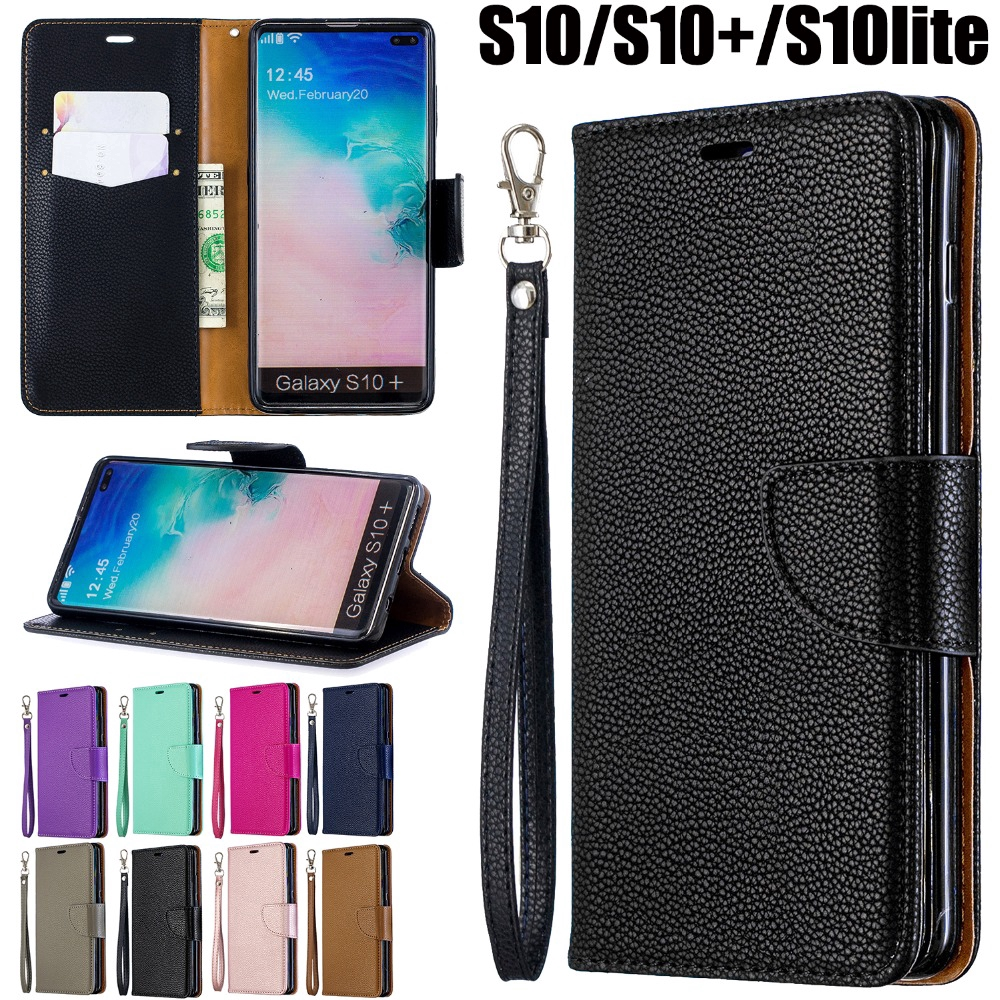 Samsung Galaxy S10e S10 Plus S10+ Galaxy S9 Plus Flip Wallet Cover Matte Litchi Leather 2 Colors Stitching Phone Case