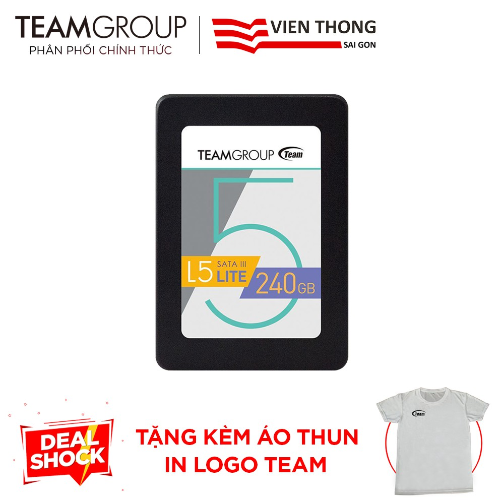 "Ổ cứng SSD Team Group L5 LITE 240GB 2.5"" 7mm Sata III - Tặng áo thun in logo"
