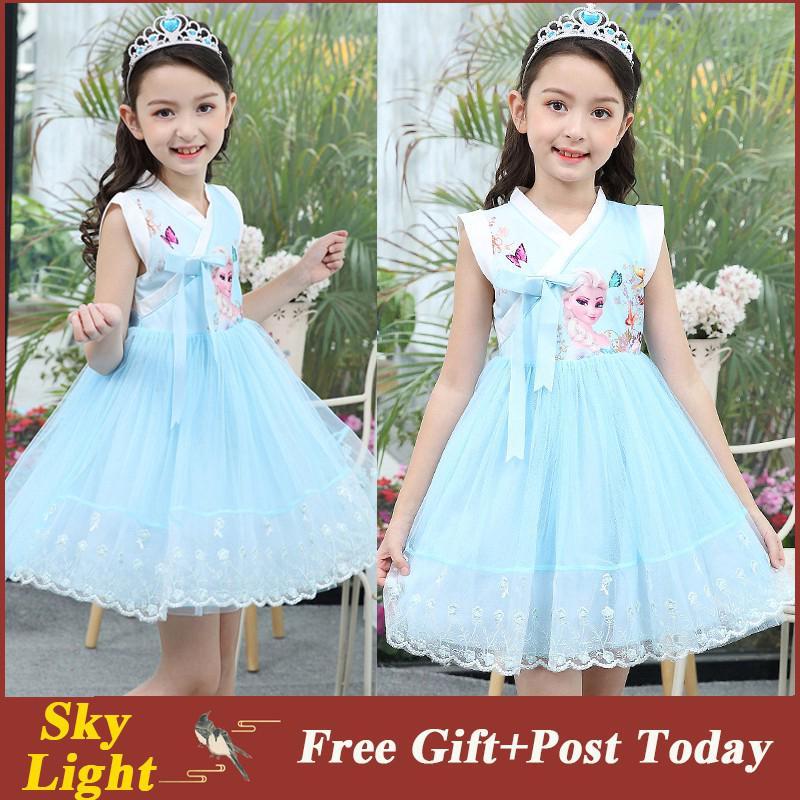 Đầm hóa trang công chúa Elsa phong cách Trung Hoa cho bé gái