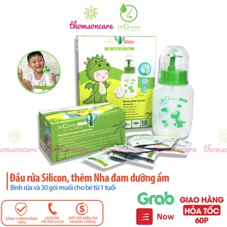 Bình rửa mũi Dr Green Kids tặng kèm 30 gói muôi - Vệ sinh mũi, họng cho bé, đầu silicon không đau, cho trẻ từ 1 tuổi thumbnail