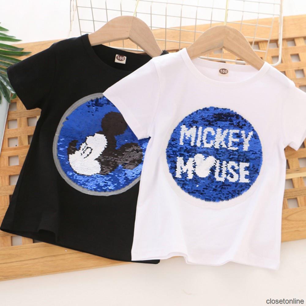 Áo Thun Cotton Cổ Tròn In Hình Chuột Mickey Đáng Yêu Cho Bé