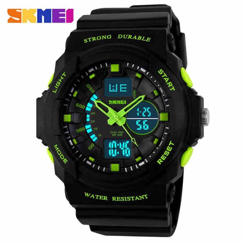 Đồng hồ nam SKMEI 1008 dây cao su (Đen viền xanh lá)