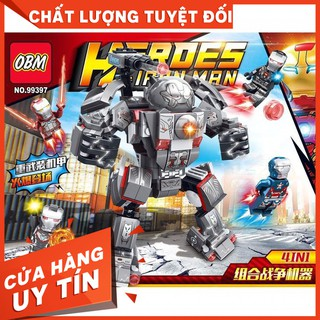 Bộ xếp hình Lego Heroes ironman MOC war machine mecha 4in1 OBM 99397