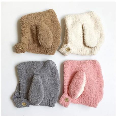 Mũ len tai cừu cài cúc cho bé | Nón len lông cừu cho bé trai bé gái mẫu mới