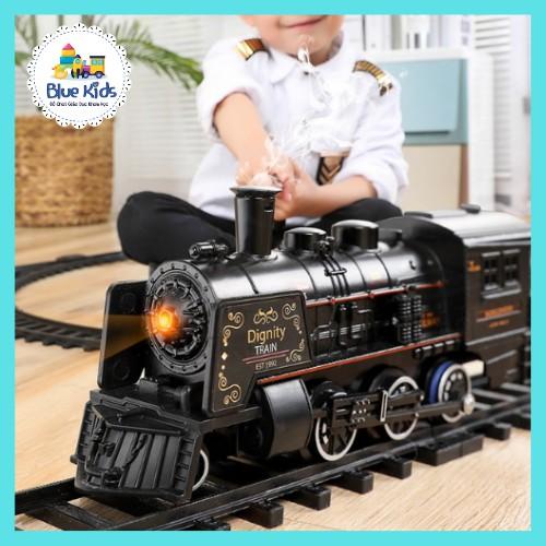 Đồ chơi mô hình tàu hỏa siêu tốc cổ điển BLUE KIDS chạy trên đường sắt, nhả khói hơi nước, đèn và âm thanh sống động