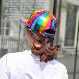 Shiny Holographic Baseball Cap Laser Leather Rainbow Reflective Glossy Snapback