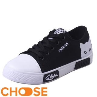 Giày Nữ Choose Giày vải Lười Nữ Thể Thao Sneaker bata Cột Dây Họa Tiết Mèo Xương Cá GIÁ RẺ BẤT NGỜ G1502 thumbnail