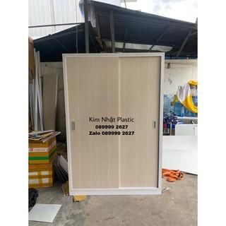 Tủ nhựa Đài Loan 2 cánh lùa 123*180 FREESHIP sồi đẹp