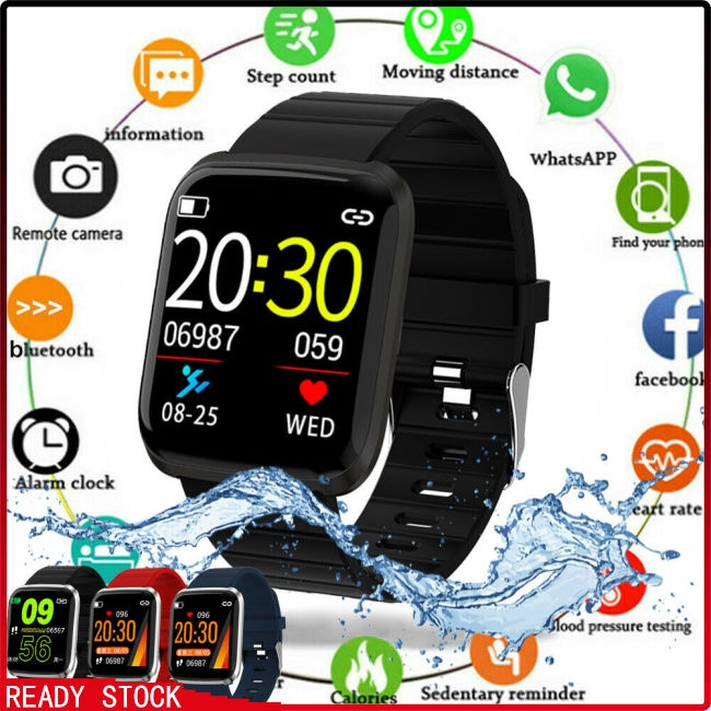 HD Color Screen 116pro Smart Watch Bracelet Wristband Fitness Tracker Blood Pressure Heart Rate