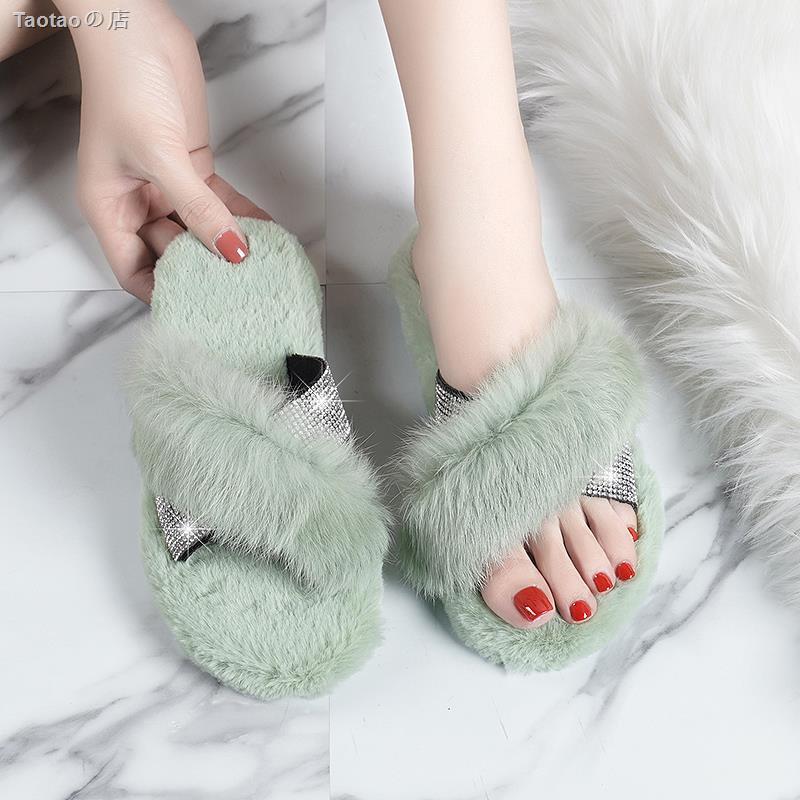 รองเท้าแตะขน faux แฟชั่นสําหรับผู้หญิง