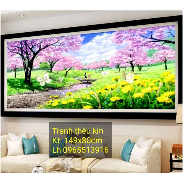 Tranh thêu phong cảnh rừng cây màu tím 149x80cm