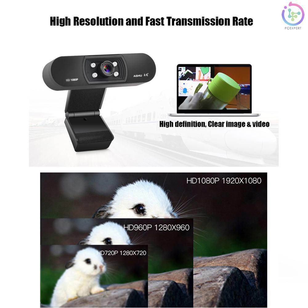 Webcam Kỹ Thuật Số Ashu Usb 2.0 1080p Có Kẹp Gắn Micro 2.0 Megapixel Cmos Cho Máy Tính Laptop