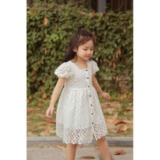 Váy Bé Gái, Đầm Ren Trắng Mềm Thêu Hoa Cúc Tinh Khôi, Siêu Xinh, Ren Không Dặm Ngứa