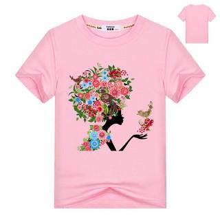 Áo hoa bé gái Áo phông bé gái giản dị và áo thun cotton cotton mùa hè