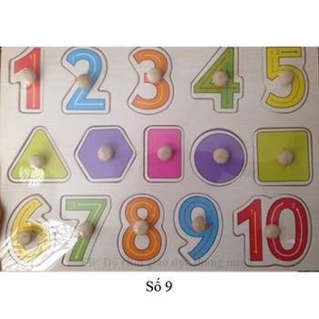 Bảng Ghép Gỗ Chữ Số Và Hình Khối Có Núm Cầm Cho Bé