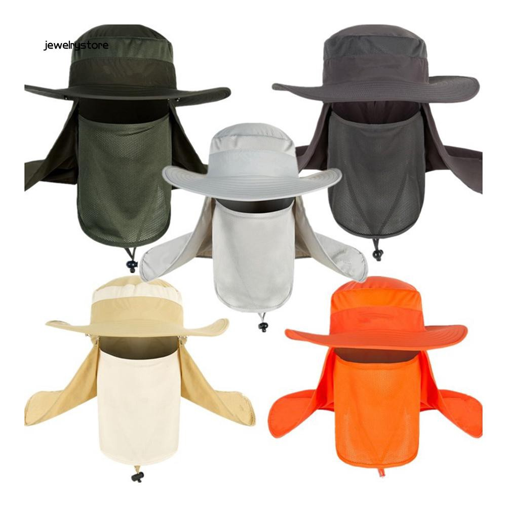 【JEW】Unisex Sun UV Protectiom Mesh Bucket Hat Detachable Neck Face Flap Boonie Hat