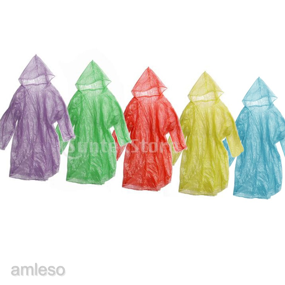Pack 12Pcs Disposable Emergency Rain Coat Raincoat Poncho for Camping Hiking