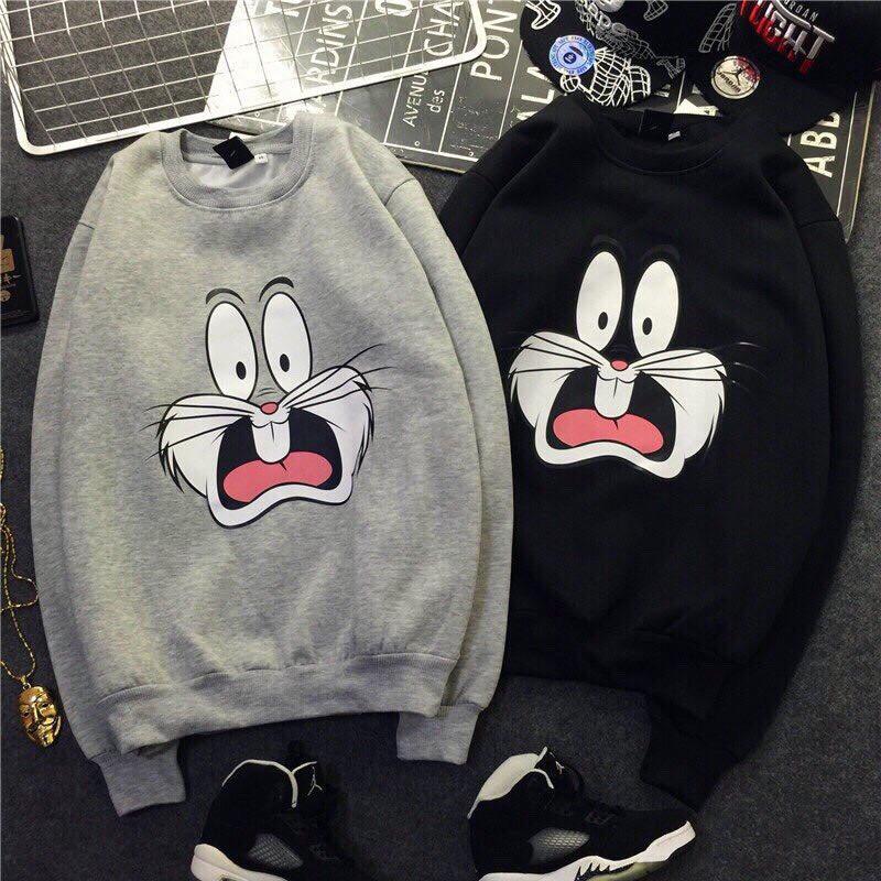 áo cặp thu đông hình thỏ form rộng - Áo hoodie Áo đôi