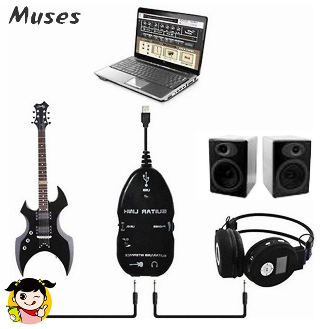 Guitar Cable Audio USB Link Interface Adapter for MAC/PC Music Recording Accessories