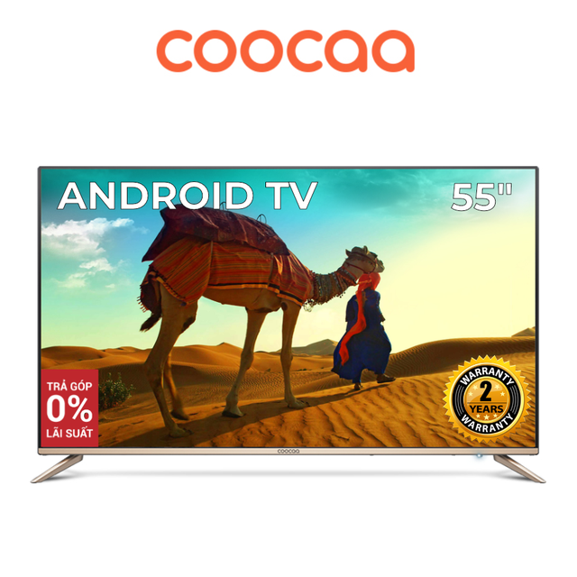 Android SMART TV 4K UHD Coocaa 55 inch Wifi - Model 55S5G (Vàng) - Chân viền kim l