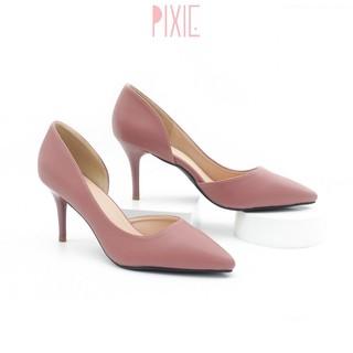 Giày Cao Gót 7cm Khoét Eo Mũi Nhọn Màu Hồng Pixie P113