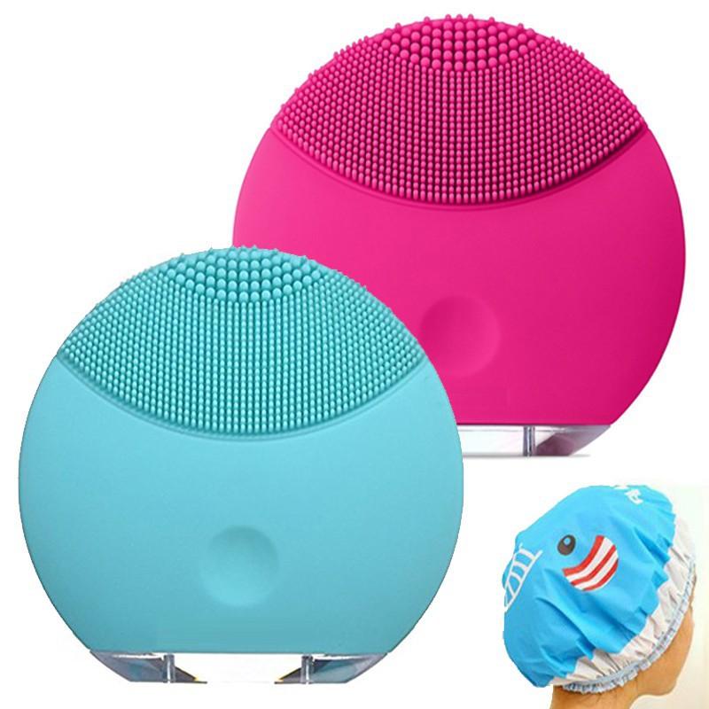 Máy Masage, rửa mặt Silicon thế hệ mới ( Có nút bịt chân sạc) + tặng chụp đầu tắm