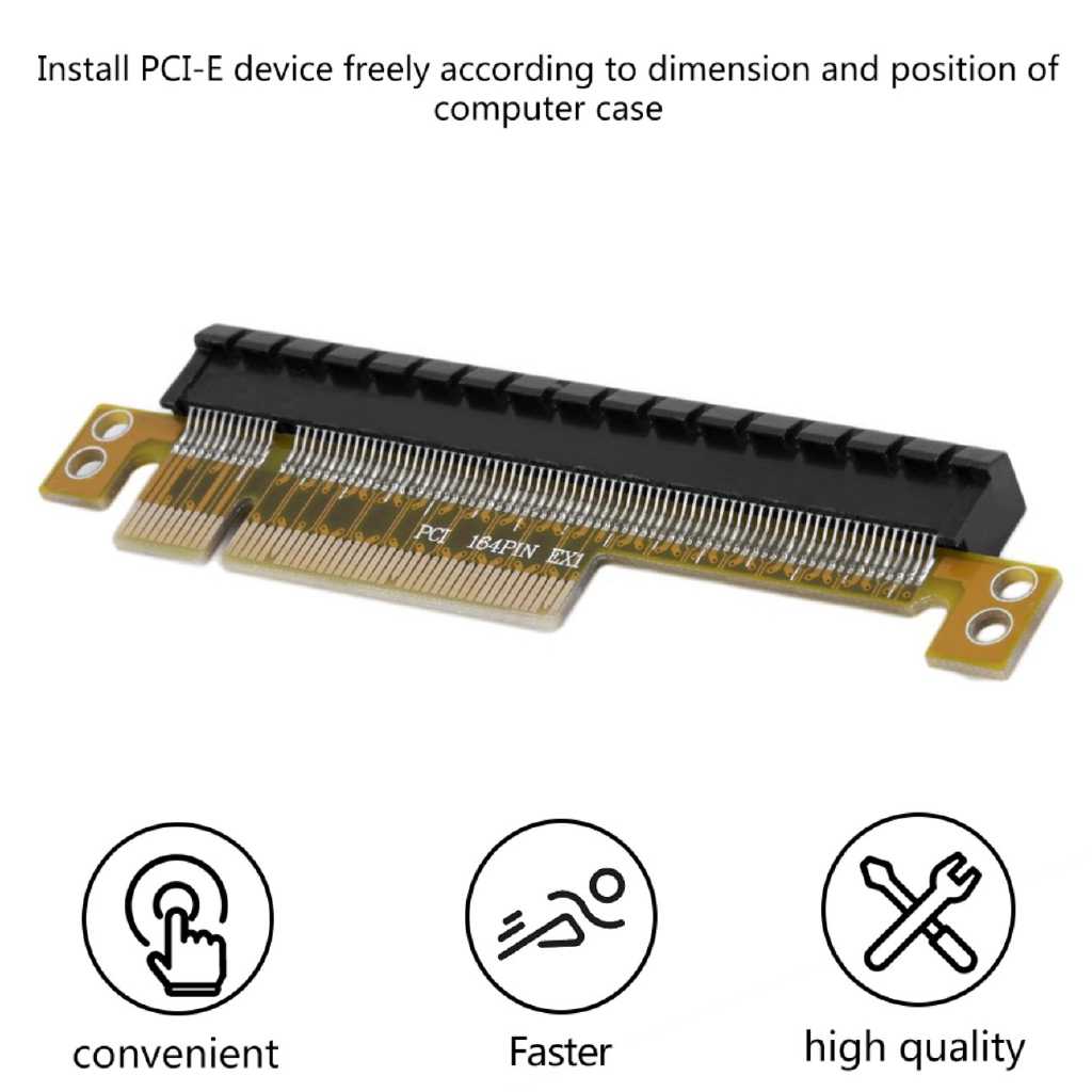 1X PCI-E Express 8X to 16X Adapter Riser Card Durable Without Extended Cable